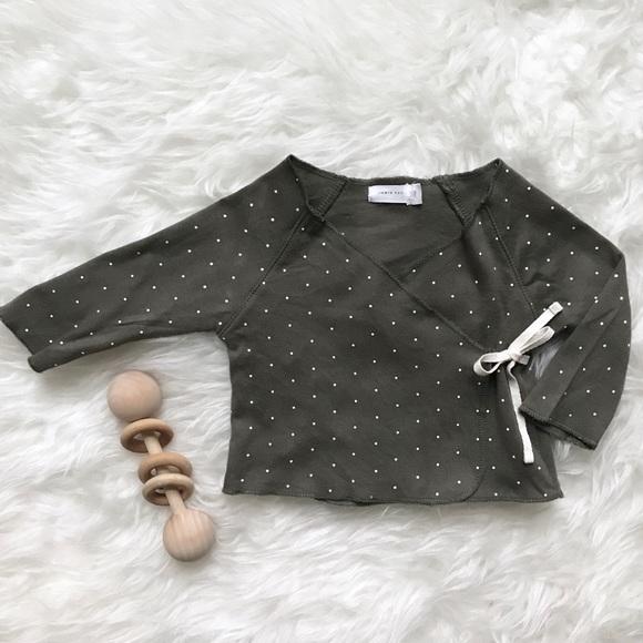 9015ea27b Jamie Kay Shirts & Tops | Olive Polka Dot Kimono Wrap Top | Poshmark